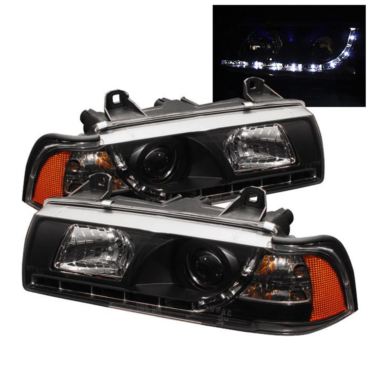 Spyder Black Projector Headlights For 1992 1998 Bmw 318i 325i 328i E36 Sedan