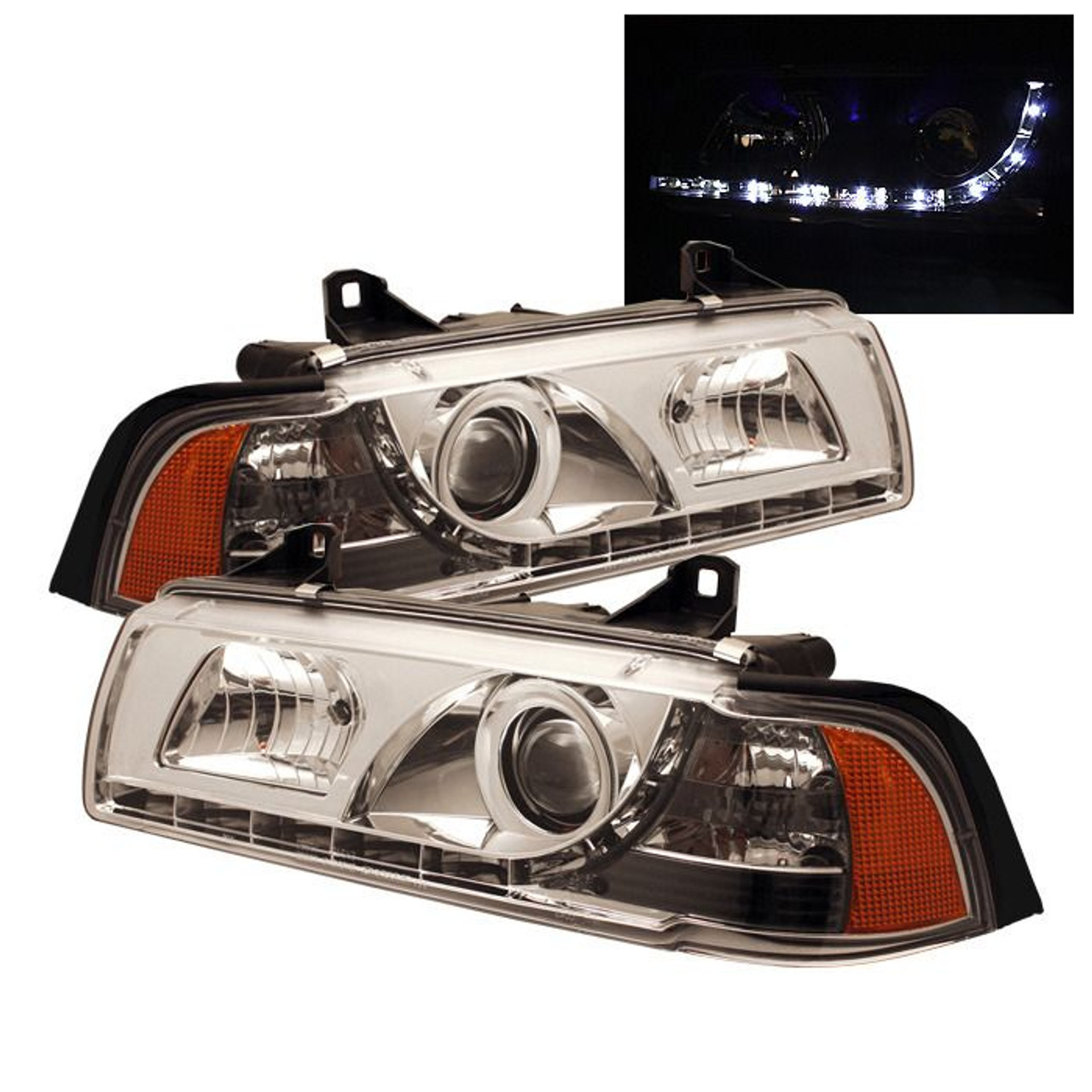 Spyder Chrome Projector Headlights For 1992 1998 Bmw 318i 325i 328i E36 Coupe