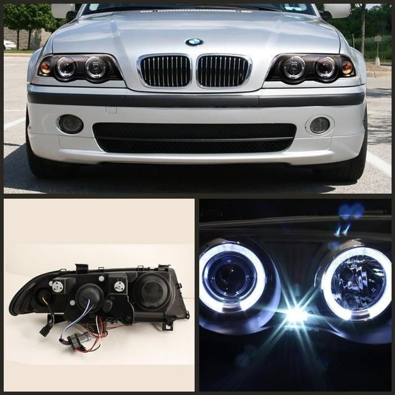Spyder Black Projector Led Halo Headlights For 1999 2001 E46 Bmw 325i 328i 330i Sedan