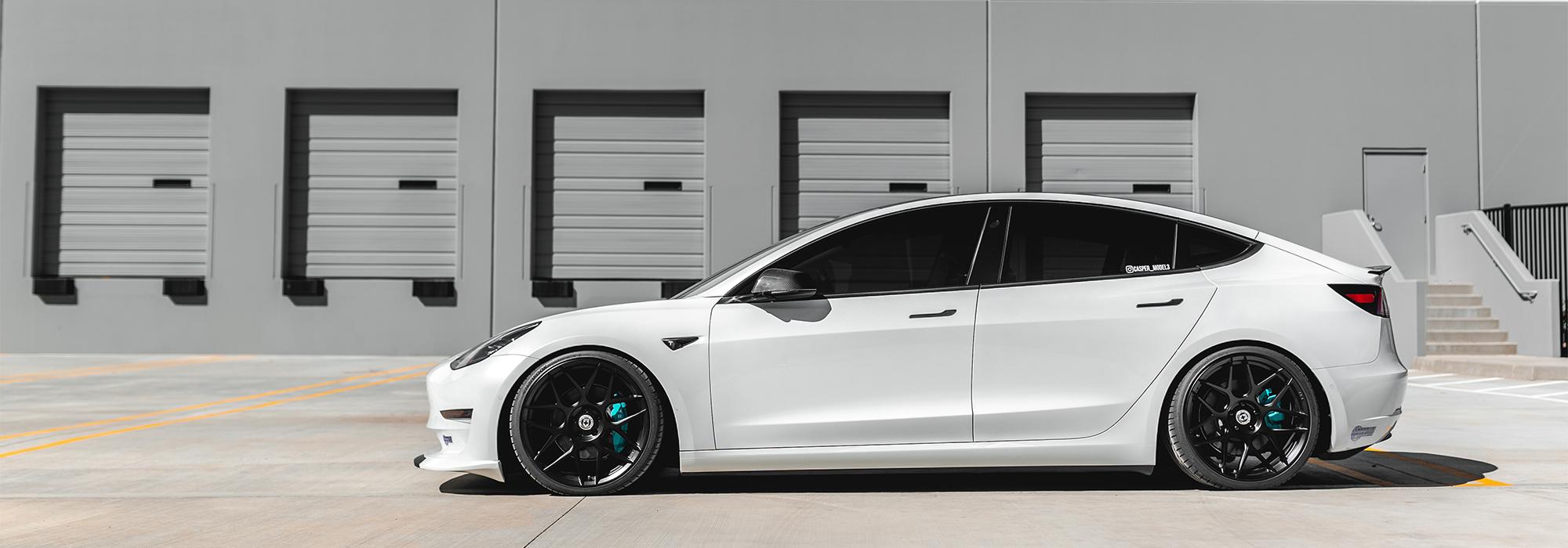 Tesla Model 3, air suspension, HRE FF01, Carbon Fiber, ModBargains