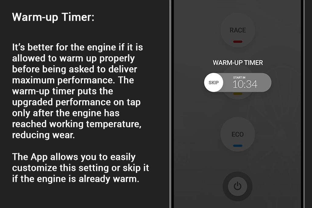 RaceChip Mobile App Warm-up Timer