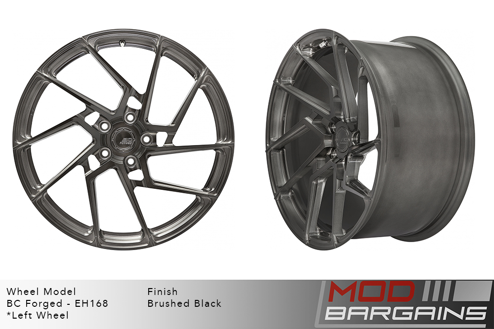 BC Forged EH168 Monoblock Forged Aluminum Directional Split 5 Spoke Concave Wheels Brushed Black Gunmetal Modbargains