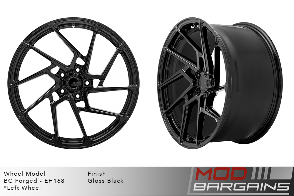 BC Forged EH168 Monoblock Forged Aluminum Directional Split 5 Spoke Concave Wheels Gloss Black Modbargains