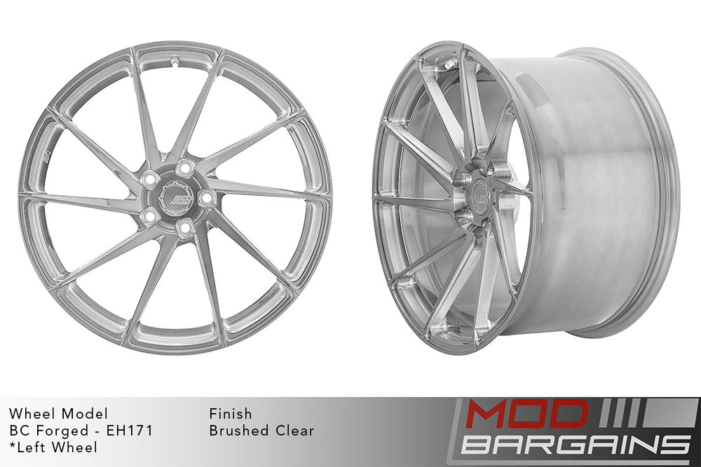 BC Forged EH171 Monoblock Forged Aluminum Directional 10 Spoke Concave Wheels Brushed Clear Silver Modbargains
