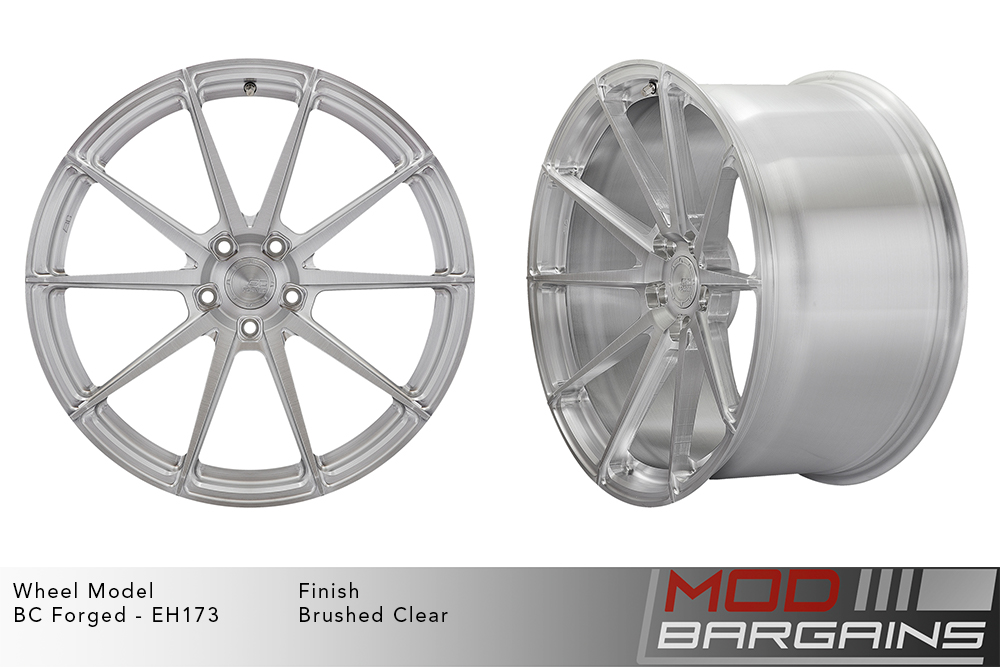 BC Forged EH173 Monoblock Forged Aluminum 10 Spoke Concave Wheels Brushed Clear Silver Modbargains