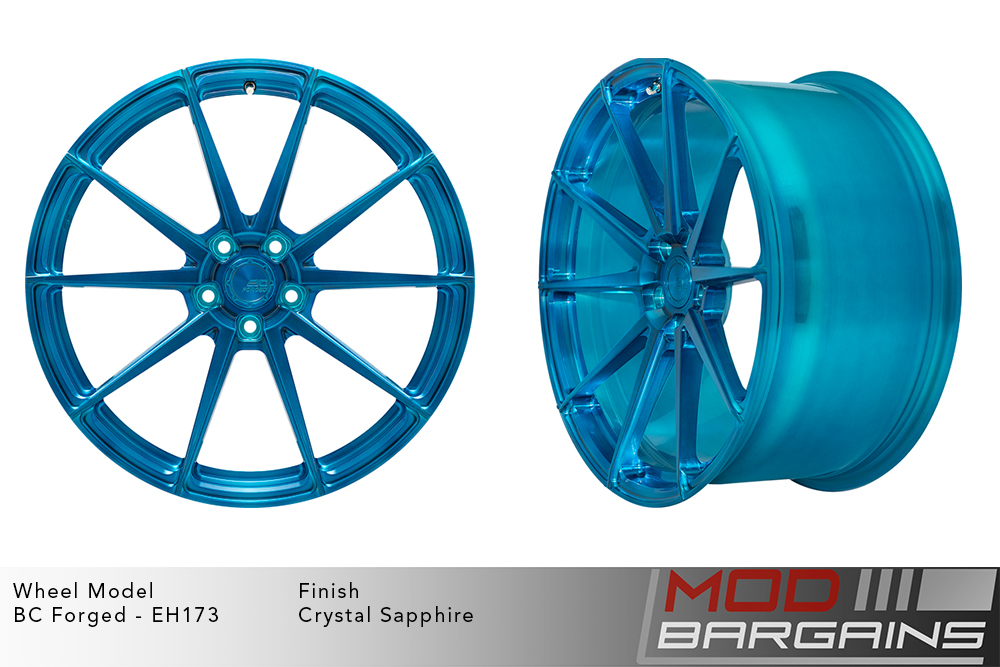 BC Forged EH173 Monoblock Forged Aluminum 10 Spoke Concave Wheels Brushed Blue Crystal Sapphire Modbargains