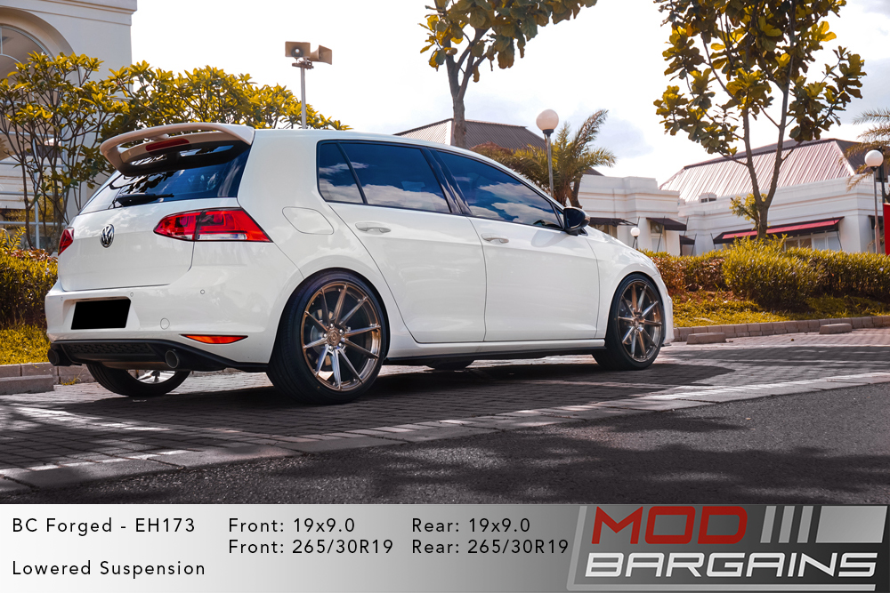 VW MK7 Golf R White BC Forged EH173 Bronze Wheels Modbargains