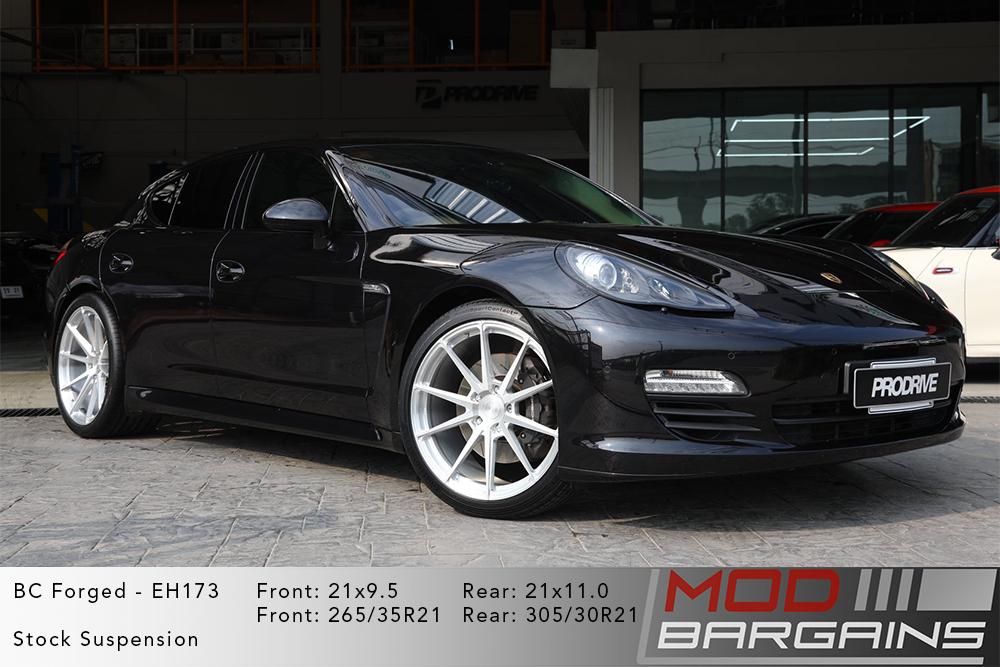 Porsche 970 Panamera Black BC Forged EH173 Silver Wheels Modbargains