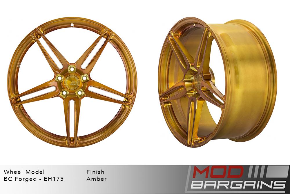 BC Forged EH175 Monoblock Forged Aluminum Split 5 Spoke Concave Wheels Brushed Amber Yellow Gold Modbargains