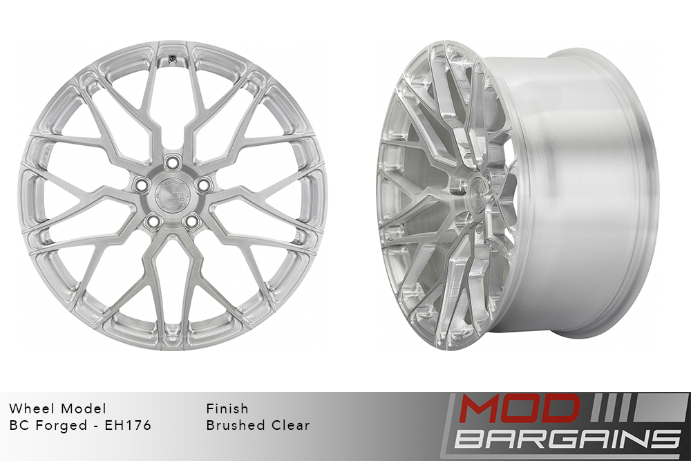 BC Forged EH176 Monoblock Forged Aluminum Multi-Mesh Concave Wheels Brushed Clear Silver Modbargains