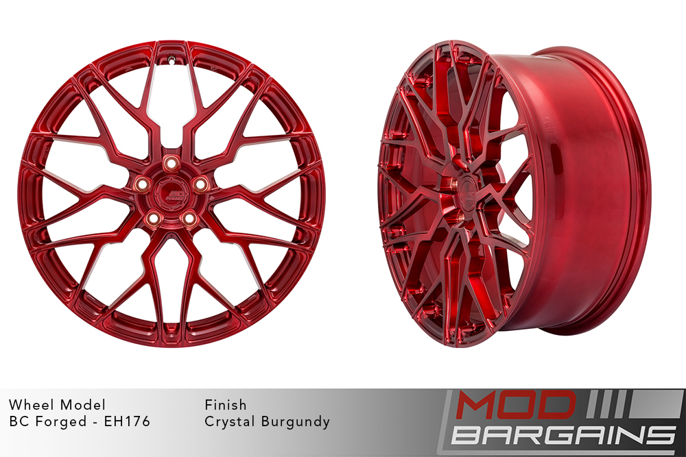 BC Forged EH176 Monoblock Forged Aluminum Multi-Mesh Concave Wheels Brushed Red Crystal Burgundy Modbargains