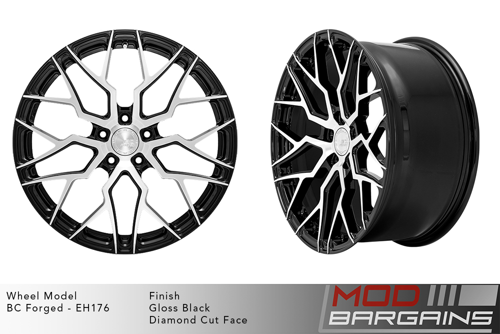 BC Forged EH176 Monoblock Forged Aluminum Multi-Mesh Concave Wheels Matte Black Diamond Cut Machined Face Modbargains