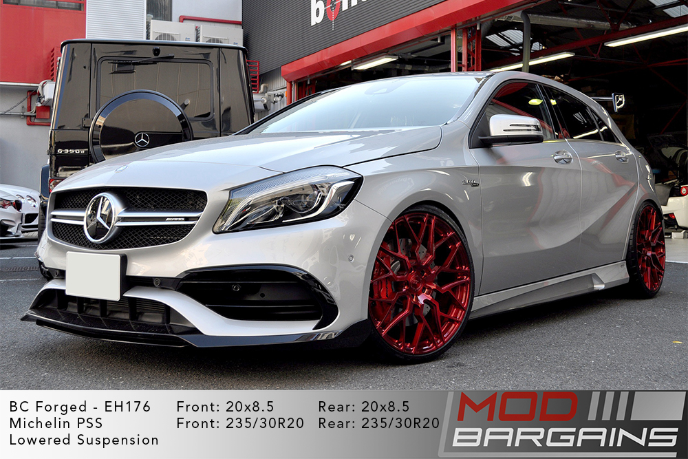 Mercedes A45 AMG White BC Forged EH176 Red Wheels Modbargains