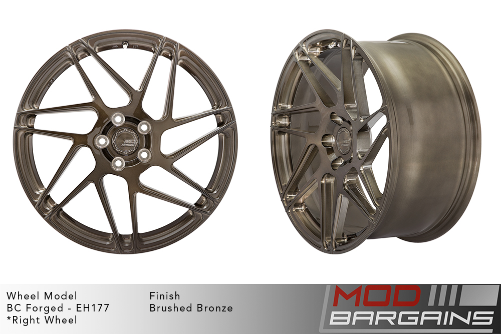 BC Forged EH177 Monoblock Forged Aluminum Directional Split 7 Spoke Concave Wheels Brushed Bronze Modbargains