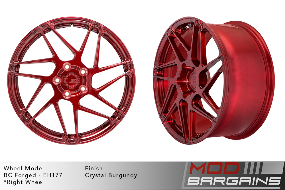 BC Forged EH177 Monoblock Forged Aluminum Directional Split 7 Spoke Concave Wheels Brushed Red Crystal Burgundy Modbargains