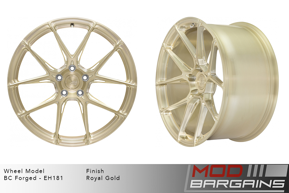 BC Forged EH181 Monoblock Forged Aluminum Split 5 Spoke Concave Wheels Brushed Royal Gold Modbargains