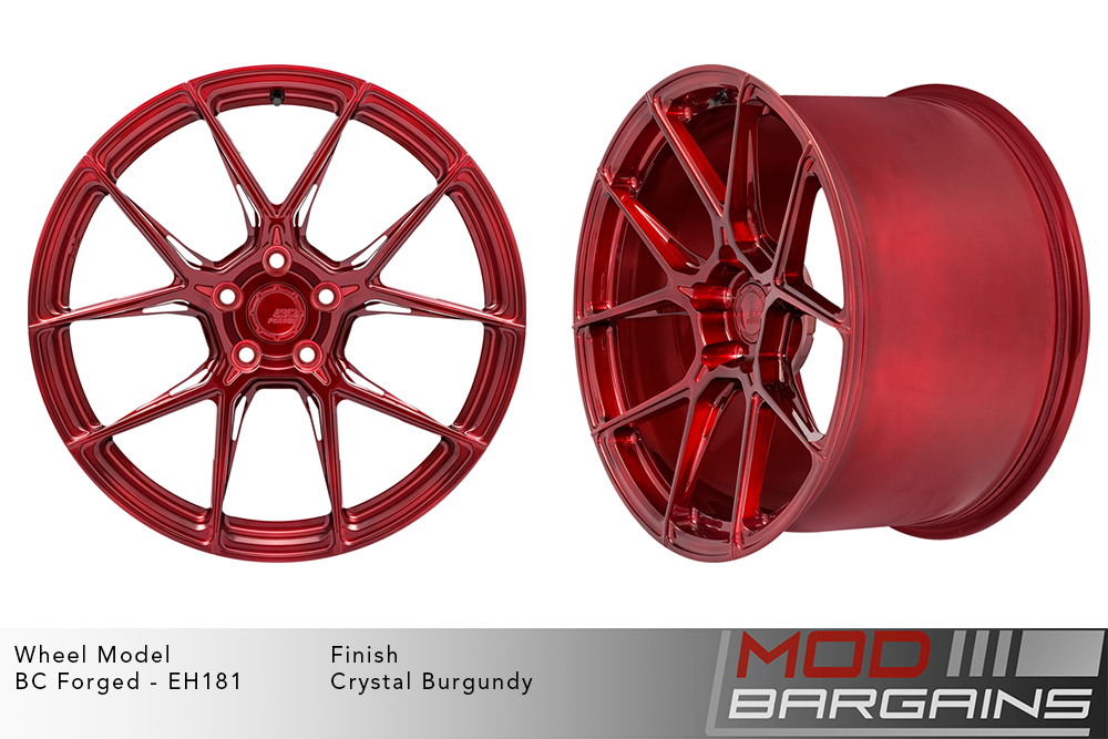 BC Forged EH181 Monoblock Forged Aluminum Split 5 Spoke Concave Wheels Brushed Red Crystal Burgundy Modbargains