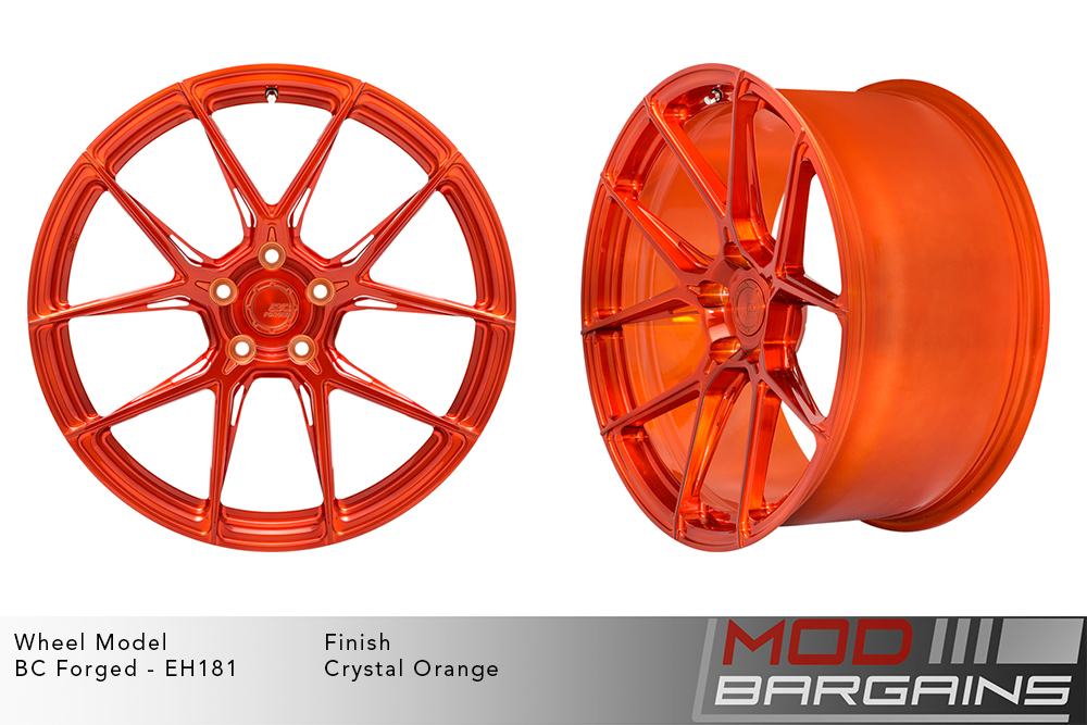 BC Forged EH181 Monoblock Forged Aluminum Split 5 Spoke Concave Wheels Brushed Crystal Orange Modbargains