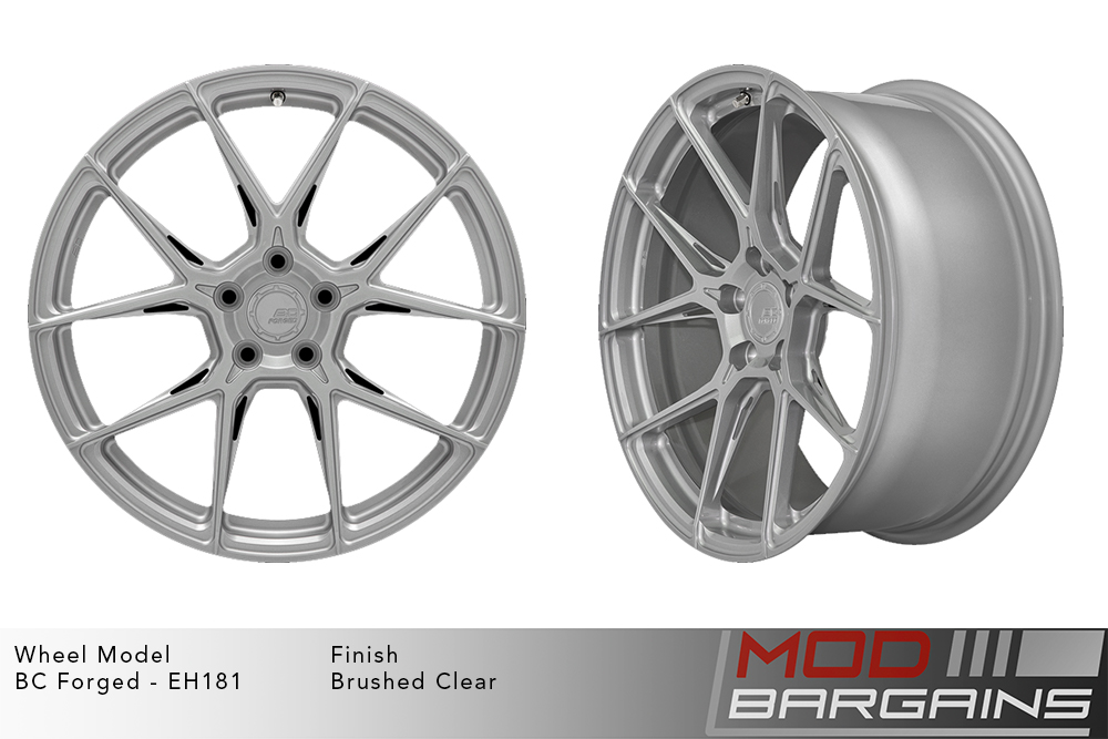 BC Forged EH181 Monoblock Forged Aluminum Split 5 Spoke Concave Wheels Brushed Clear Silver Modbargains