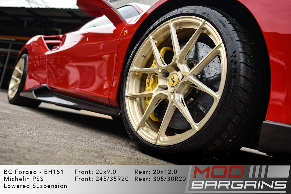 Ferrari F88 Red BC Forged EH181 Royal Gold Wheels Modbargains
