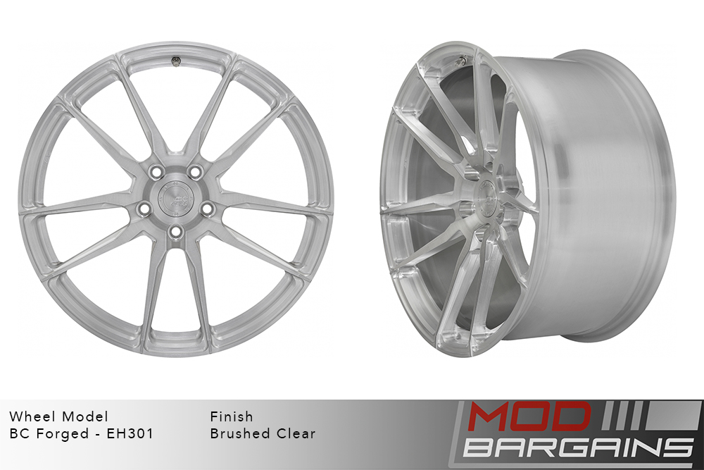 BC Forged EH301 Monoblock Forged Aluminum Split 5 Spoke Concave Wheels Brushed Clear Silver Modbargains