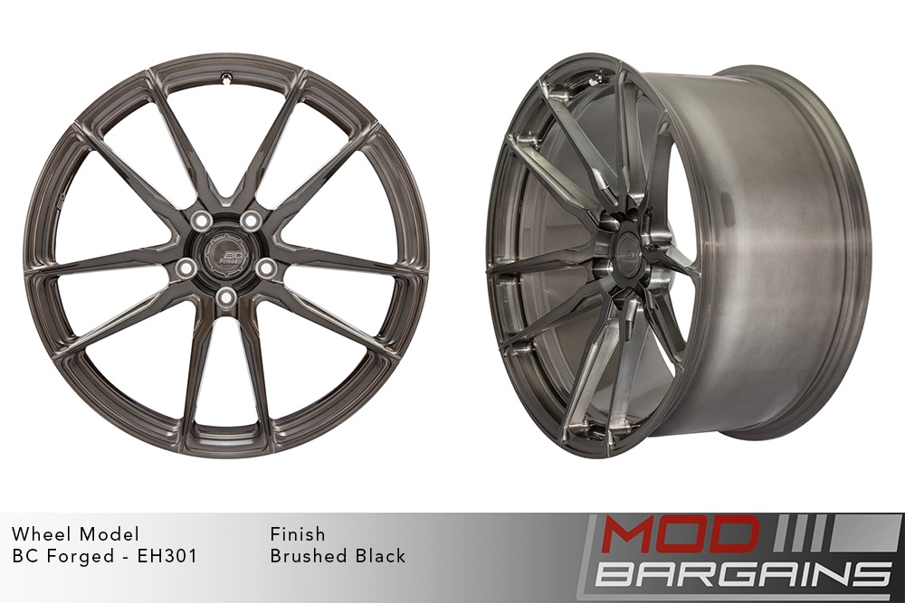 BC Forged EH301 Monoblock Forged Aluminum Split 5 Spoke Concave Wheels Brushed Black Gunmetal Modbargains
