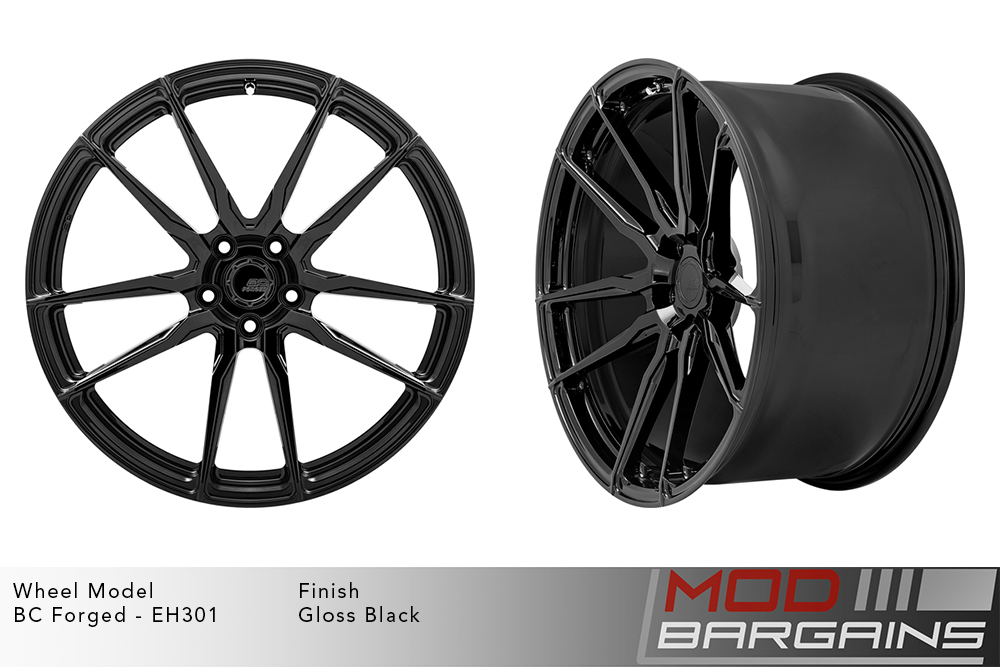 BC Forged EH301 Monoblock Forged Aluminum Split 5 Spoke Concave Wheels Gloss Black Modbargains