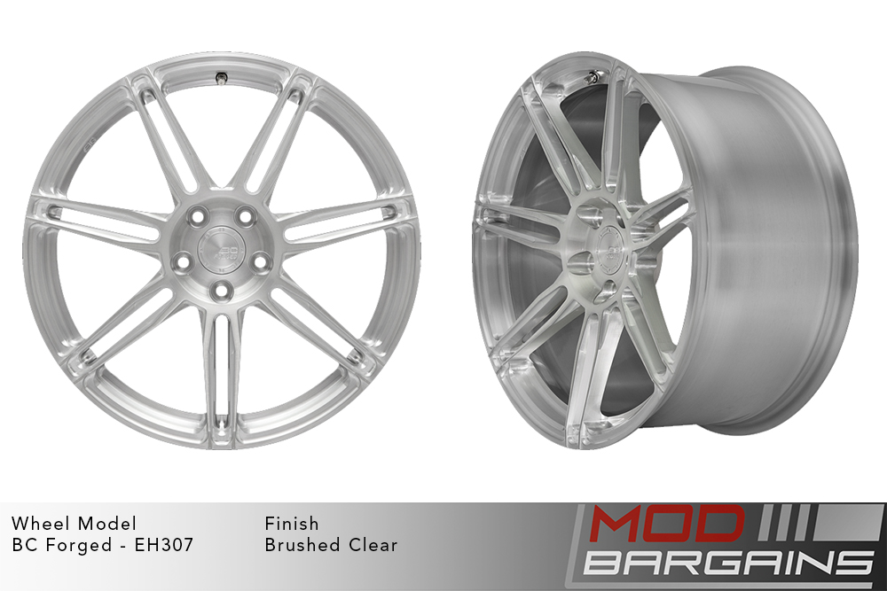 BC Forged EH307 Monoblock Forged Aluminum Split 7 Spoke Concave Wheels Brushed Clear Silver Modbargains