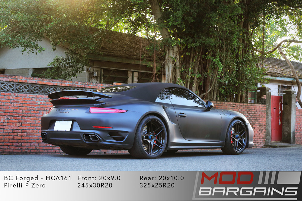 Porsche 991 911 Turbo Convertable Cabrio Matte Grey BC Forged HCA161 Wheels Modbargains