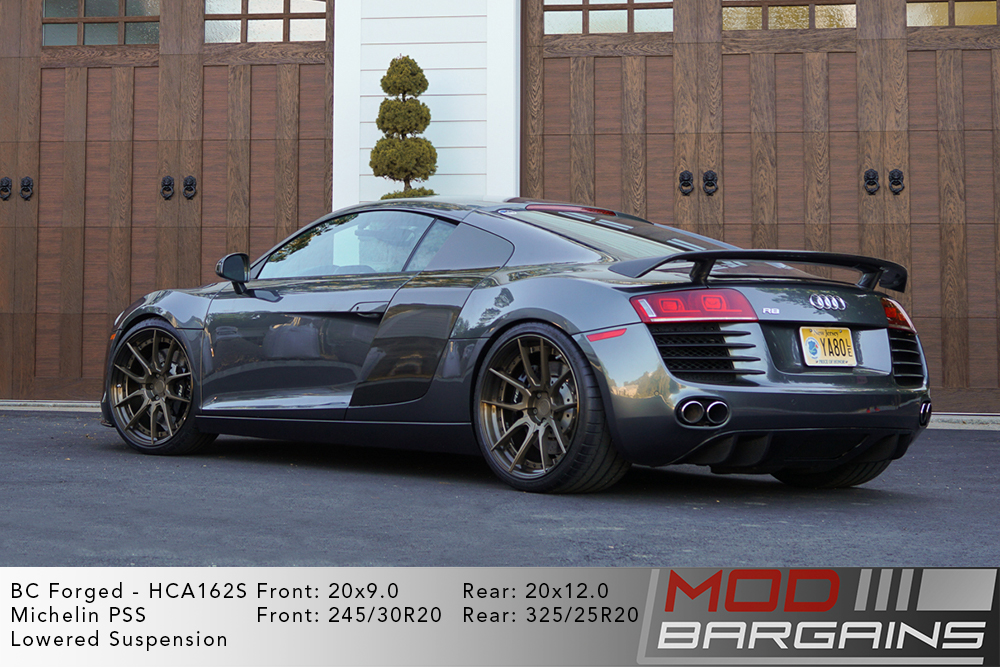 Grey Audi R8 V8 Lowered on 20 inch BC Forged HCA162 Wheels Michelin PSS Tires Modbargains