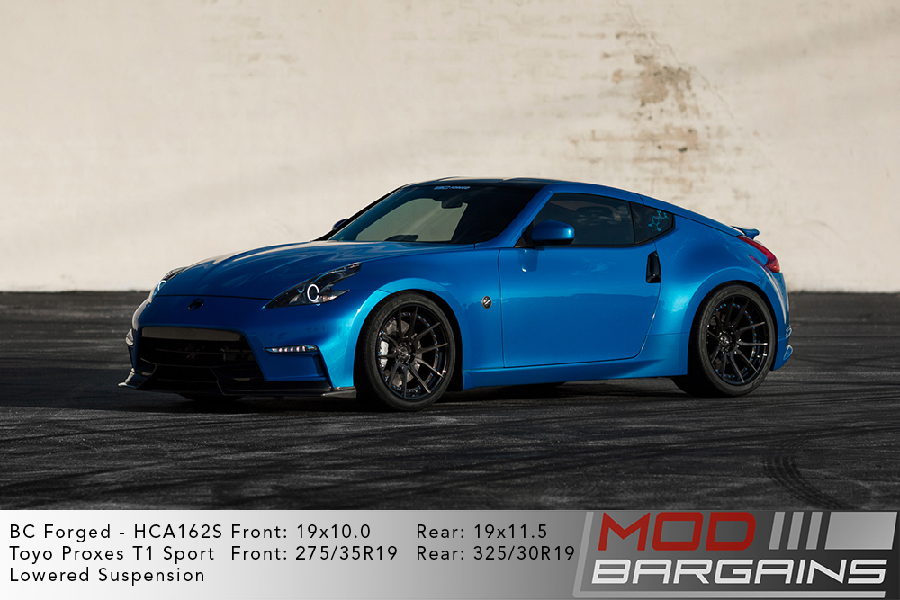 Blue Nissan 370Z lowered on 19 inch BC Forged HCA162 Wheels Modbargains