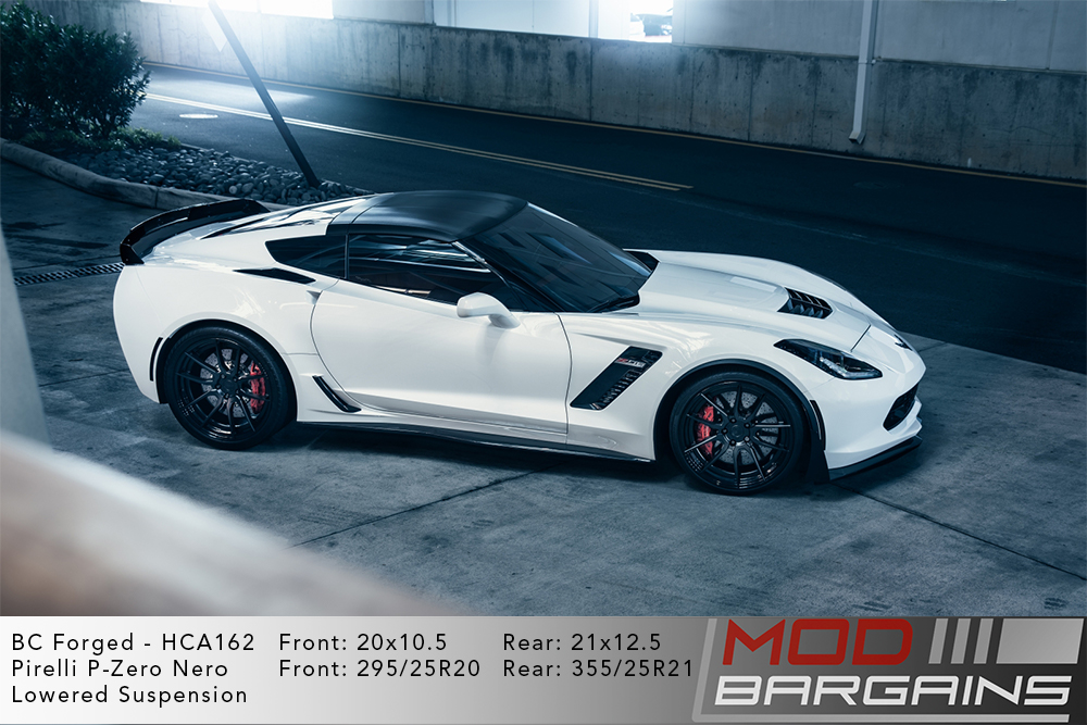 White C7 Corvette on 20 inch front and 21 inch rear BC Forged HCA162 Wheels Modbargains