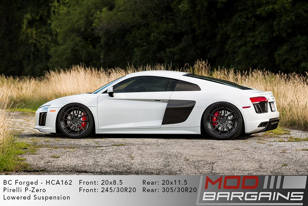 White Audi R8 V10 Lowered on 20 inch BC Forged HCA162 Wheels Pirelli P-Zero Tires Modbargains