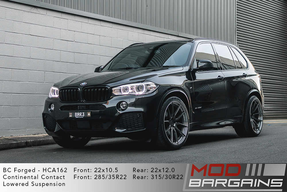 Grey BMW X5 on 22 inch BC Forged HCA162 Wheels Continental Contact Tires Modbargains