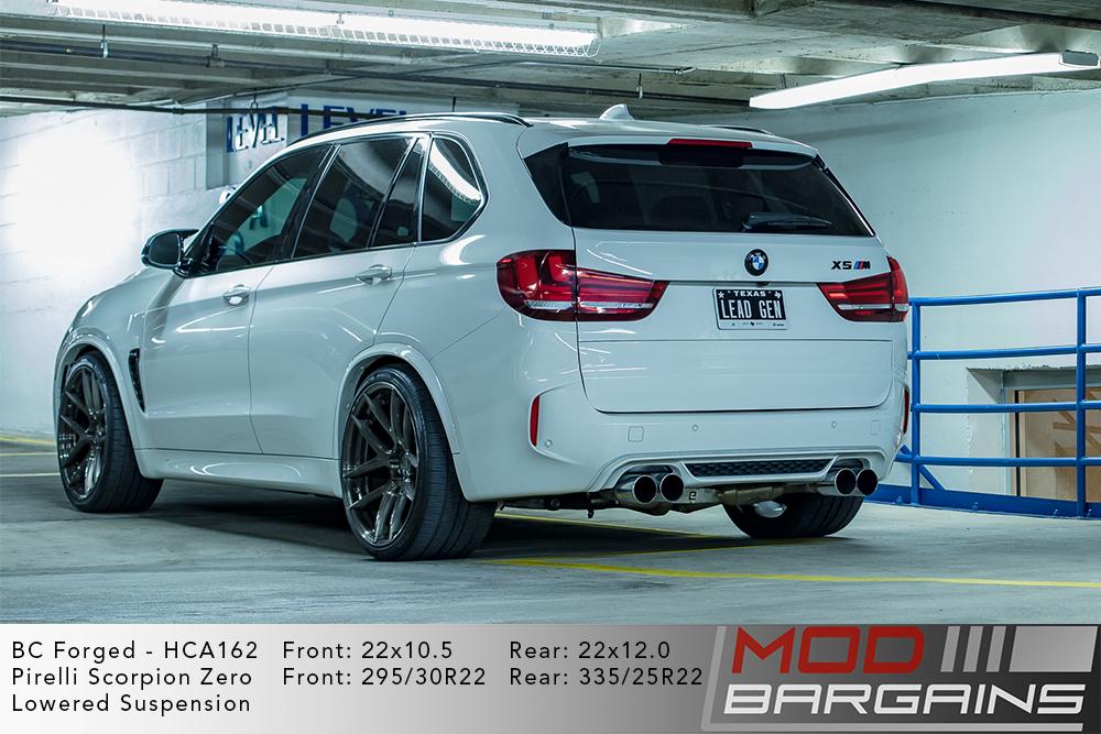 White BMW X5M on BC Forged 22 inch HCA162 Wheels Pirelli Scorpion Zero Tires Modbargains