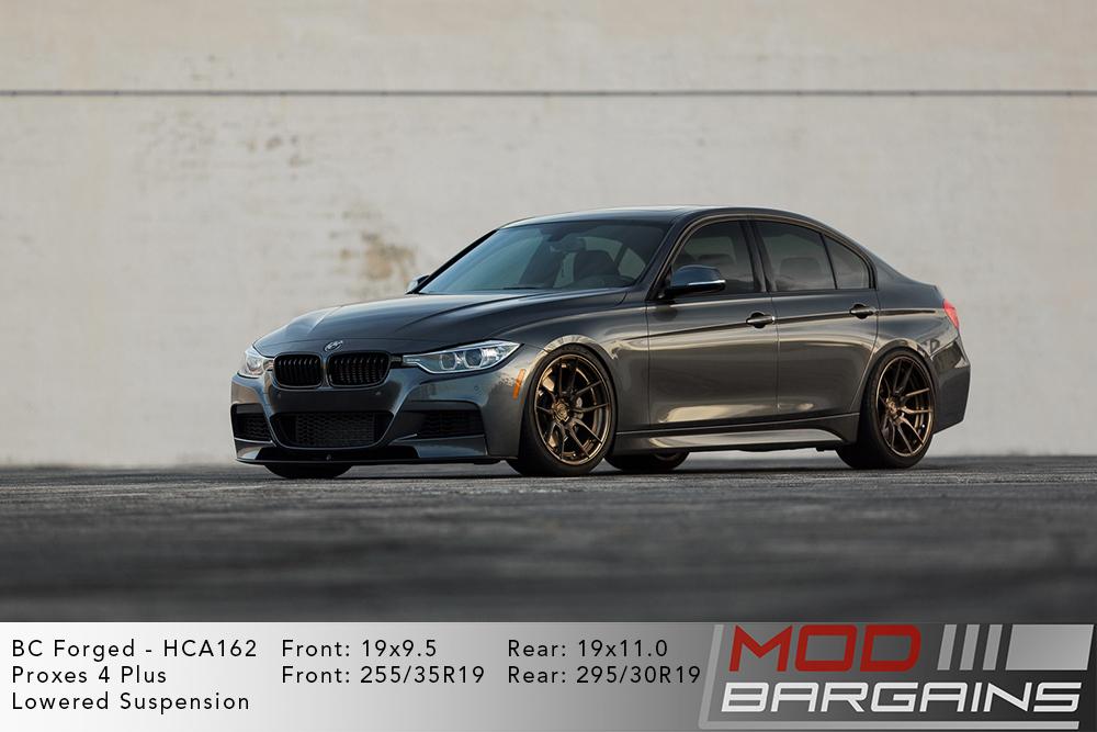 Grey F30 BMW 3-Series 335i 340i M-Sport lowered on 19 inch BC Forged HCA162 Wheels Toyo Tires Modbargains