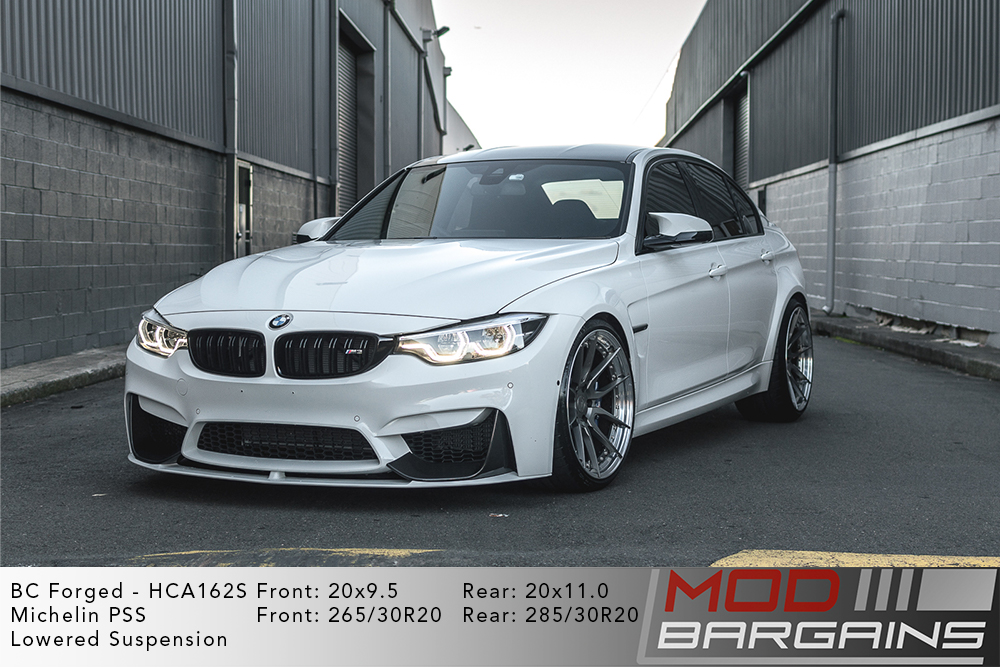 White F80 BMW M3 Lowered on 20 inch BC Forged HCA162 Wheels Michelin PSS Tires Modbargains