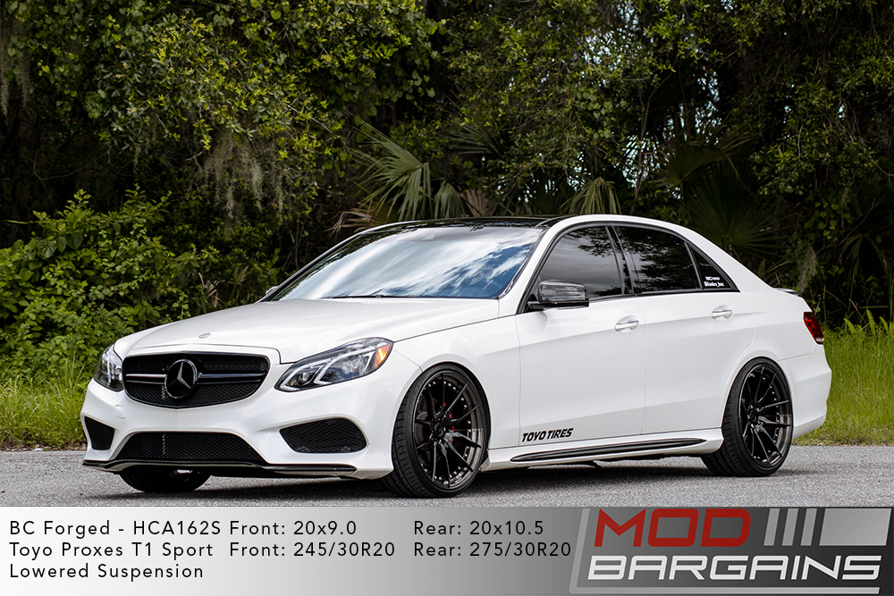 White Mercedes W212 E350 lowered on 20 inch BC Forged HCA162 Wheels Modbargains