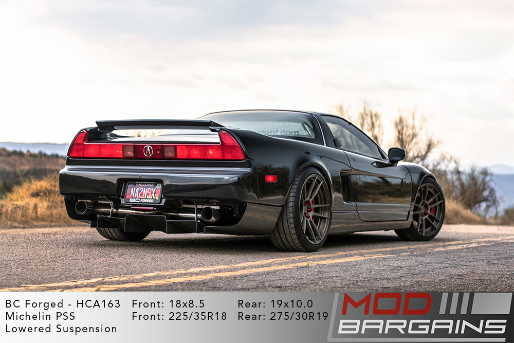 Black Acura Honda NSX Lowered on 18 inch front and 19 inch rear BC Forged HCA163 Wheels Michelin PSS Tires Modbargains