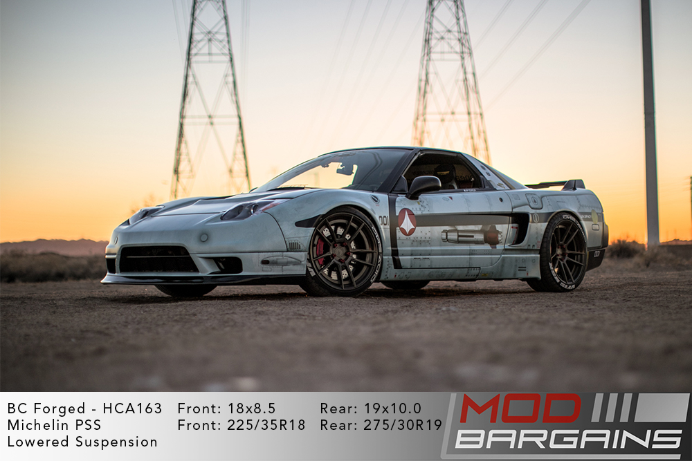 Wrapped White Acura Honda NSX Lowered on 18 inch front and 19 inch rear BC Forged HCA163 Wheels Michelin PSS Tires Modbargains