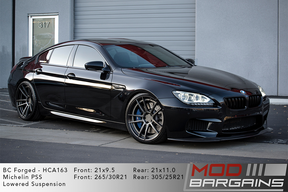 Black F06 BMW M6 Grand Coupe lowered on 21 inch BC Forged HCA163 Wheels Michelin PSS Tires Modbargains