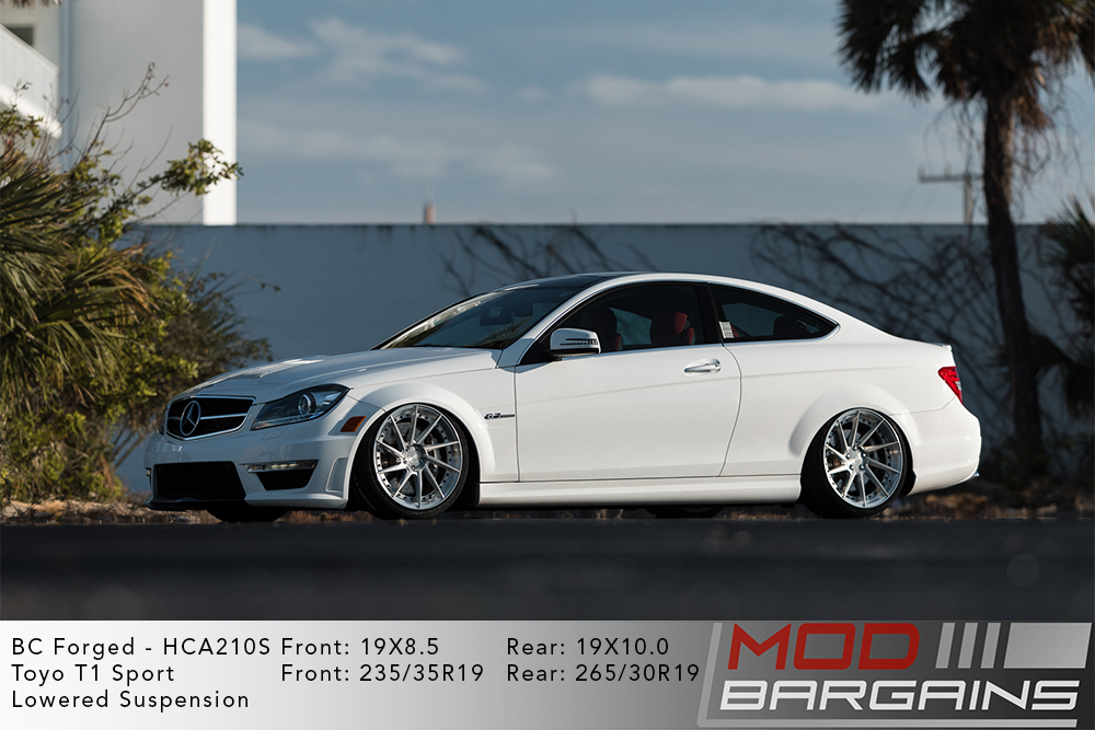 White Mercedes C204 W204 C63 AMG Coupe on 19 inch BC Forged HCA210S Wheels Toyo Tires Modbargains