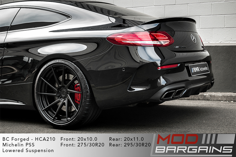 Black C205 W205 C63S AMG Coupe on 20inch BC Forged HCA210 Wheels Michelin PSS Tires Modbargains