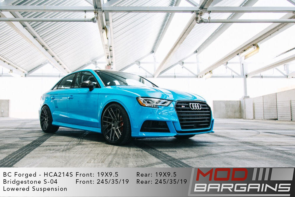 Blue Audi 8V S3 on 19 inch BC Forged HCA214S Wheels Birdgestone S-04 Tires Modbargains