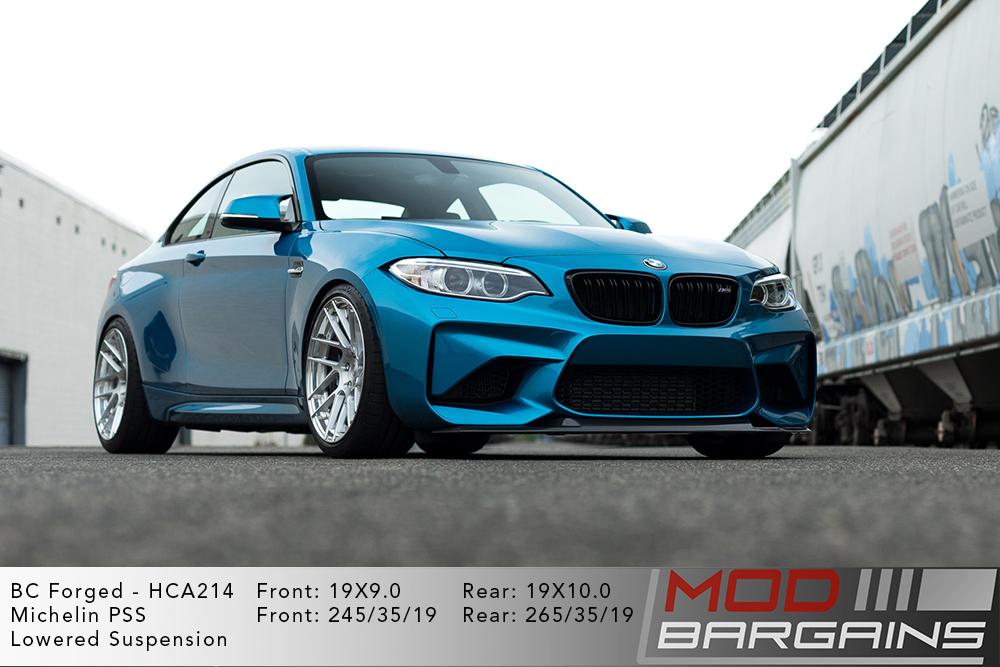 Blue BMW F87 M2 on 19 inch BC Forged HCA214 Wheels Michelin PSS Tires Modbargains