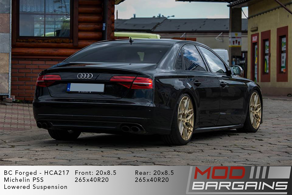 Black Audi D4 S8 on 20 inch BC Forged HCA217S Wheels Michelin PSS Tires Modbargains