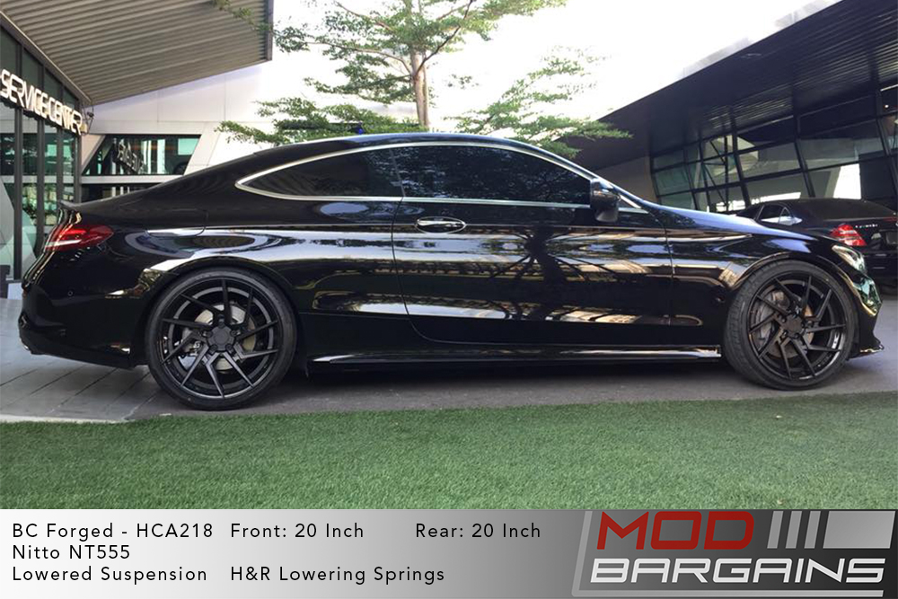 Black Mercedes C205 C250 Coupe on 20 inch BC Forged HCA218 Wheels Nitto NT555 Tires Modbargains