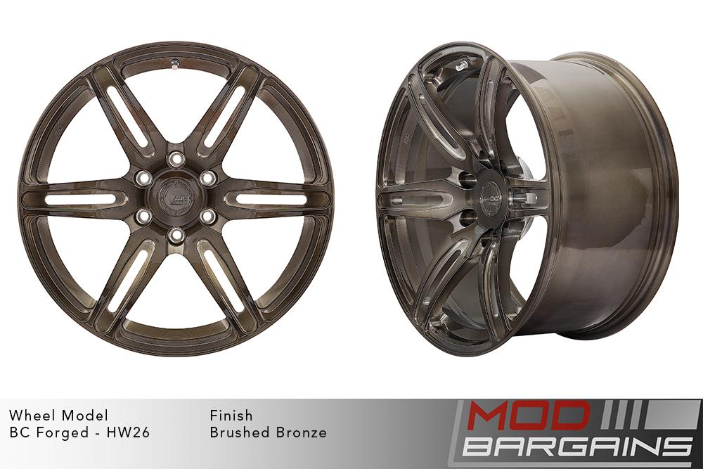 BC Forged HW26 Monoblock Forged Aluminum Split 6 Spoke Concave Brushed Bronze Wheels Modbargains