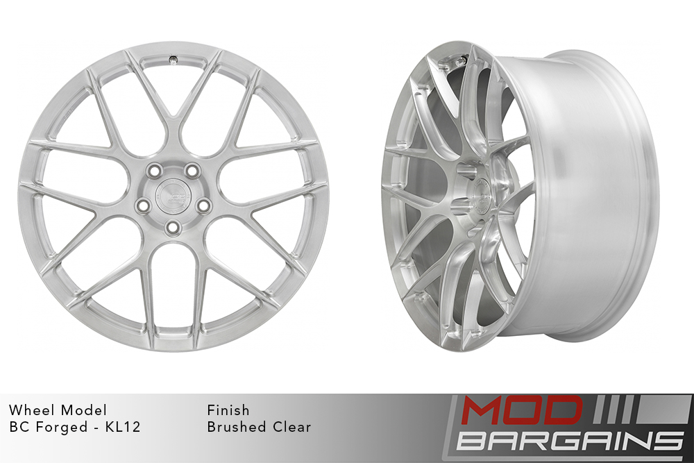 BC Forged KL12 Monoblock Forged Aluminum Split 7 Spoke Concave Brushed Clear Wheels Modbargains