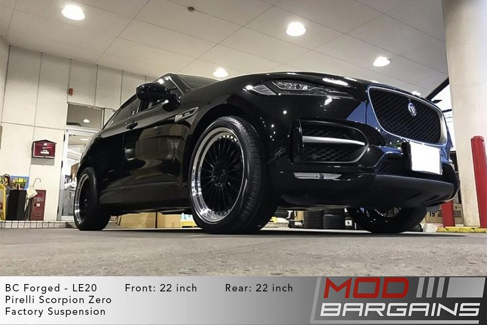 Black Jaguar F-Pace on 22 inch BC Forged LE20 Wheels Pirelli Scorpion Zero Tires Modbargains